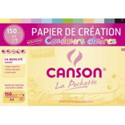 Assortiment Canson 12 feuilles A4 150 g/m² - couleurs claires
