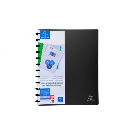 Protége-documents à anneaux et pochettes amovibles Exacompta - 60 vues - Noir