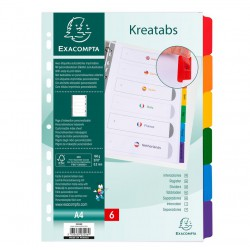 Intercalaires personnalisables Kreaman 6 positions - Exacompta