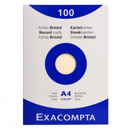 100 fiches Bristol A4 Ivoire Exacompta - 205 gr/m²