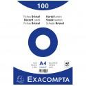 100 fiches Bristol A4 Blanc Exacompta - 205 gr/m²