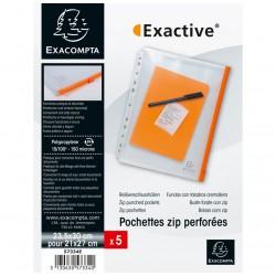5 Pochettes zip perforées A4 Exacompta