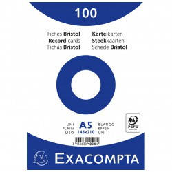 100 fiches Bristol A5 Blanc Exacompta - 205 gr/m² - sous film