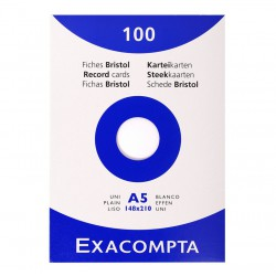 Etui de 100 fiches Bristol A5 Blanc Exacompta - 205 gr/m²