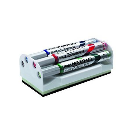 Kit de 4 marqueurs tableau blanc Pentel sur support brosse magnétique