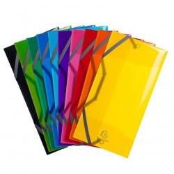 Chemises 3 rabats Elastiques format enveloppe (25x12 cm) Exacompta - Polypropylène 5/10e