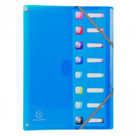 Trieur 8 compartiments Exacompta - Gamme Iderama PP - 8 couleurs au choix