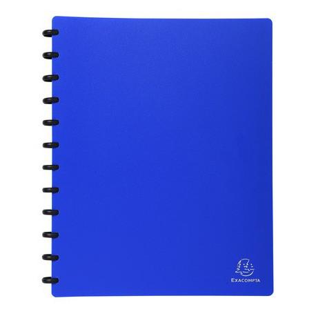 Protége-documents à anneaux et pochettes amovibles Exacompta - 60 vues - Bleu