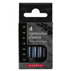 Boîte de 4 cartouches noires Herbin pour Creapen