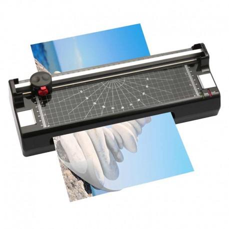Plastifieuse Lamicut A4 + Rogneuse A4 + Arrondisseur d'angles | Plastifie jusqu'à 125 microns