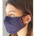 Masque de protection en tissu Bleu marine motif croix et pois