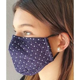 Masque individuel de protection grand public en tissu Bleu marine motif croix et pois