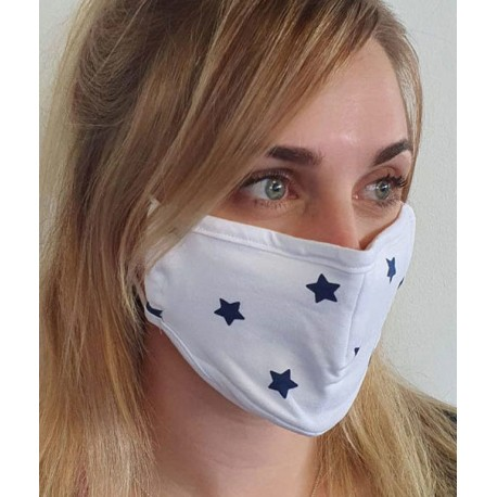Masque individuel de protection en tissu grand public Blanc motif Etoiles