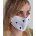 Masque de protection en tissu grand public Blanc motif Etoiles