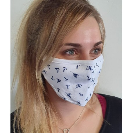 Masque individuel de protection en tissu grand public Blanc motif Navires