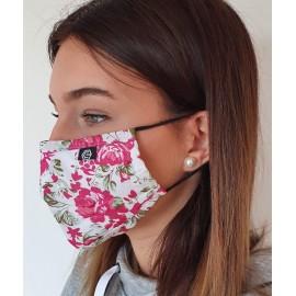Masque individuel de protection en tissu grand public Blanc motif Roses