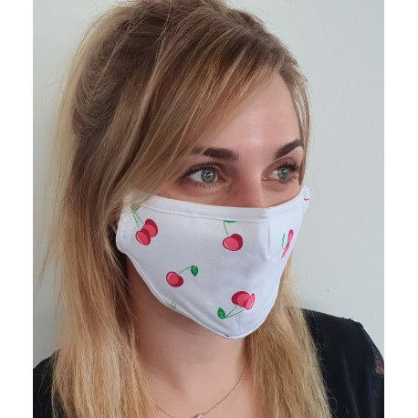 Masque individuel de protection en tissu grand public blanc motif cerises