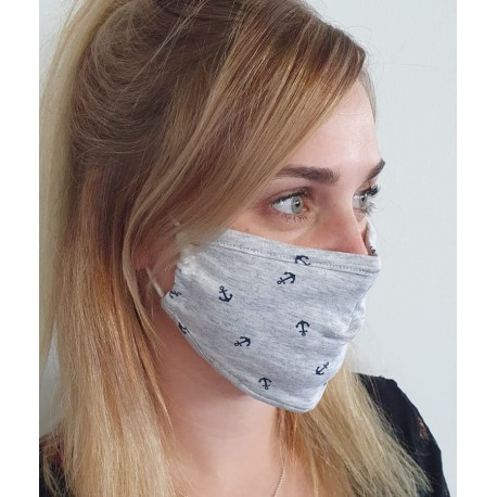 Masque individuel de protection en tissu grand public gris motif Ancres