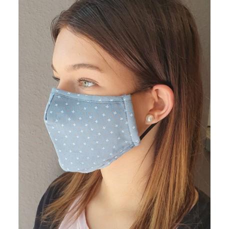 Masque individuel de protection en tissu grand public gris/bleu motif croix et pois