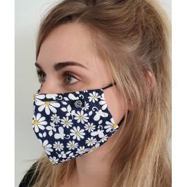 Masque individuel de protection en tissu grand public bleu motif marguerites