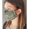 Masque de protection en tissu grand public Vert motif fleurs