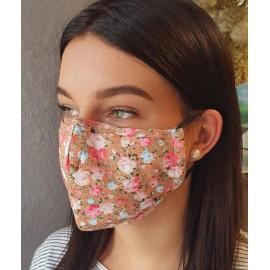 Masque individuel de protection en tissu grand public Vert motif fleurs