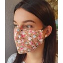 Masque de protection en tissu grand public Saumon motif roses
