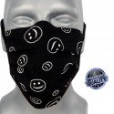 Masque de protection en tissu grand public noir motif smiley