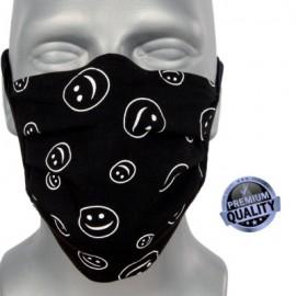 Masque individuel de protection en tissu grand public noir motif smiley