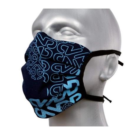 Masque individuel de protection en tissu grand public noir motif bleu ciel