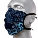 Masque de protection en tissu grand public noir motif bleu ciel