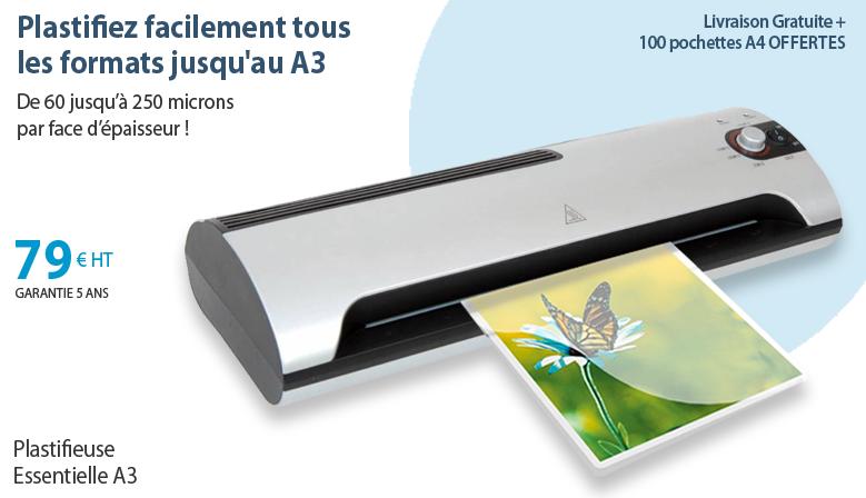 Plastifieuse Essentielle A3 + 100 pochettes A4 60 microns