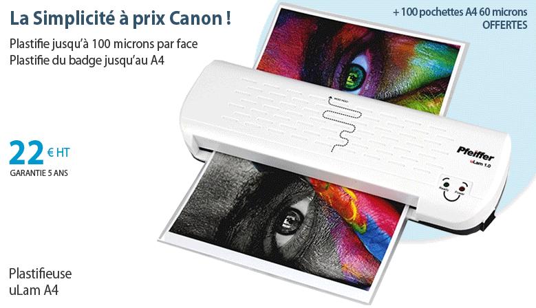 Plastifieuse uLam A4 + 100 pochettes à plastifier A4 60 microns