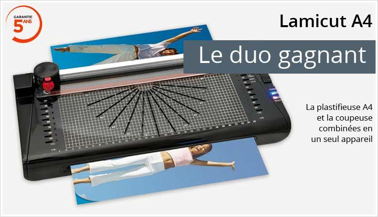 Lamicut A4 : Plastifieuse + rogneuse + 1 feuille nettoyage offerte